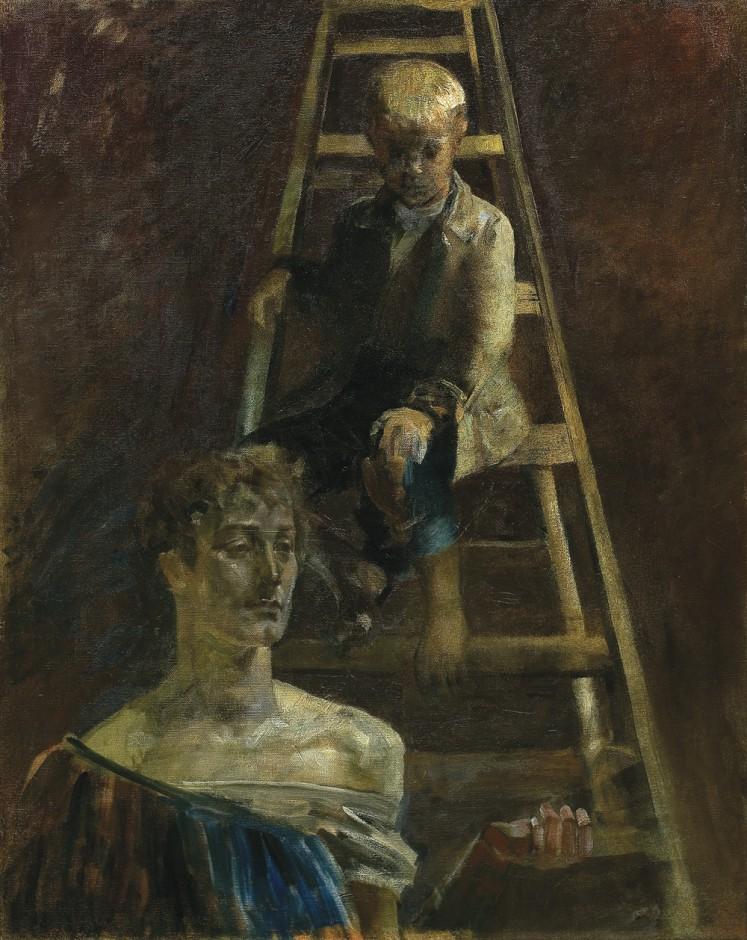 """Jacek Malczewski """"Malarczyk i muza, 1898"""" (olej, płótno; 80, 63,8cm)"""