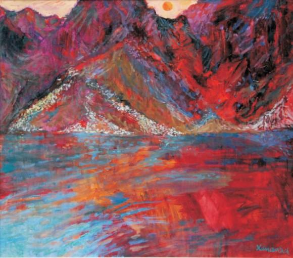 "Jan Szancenbach ""Morskie Oko - zachód słońca, 1997"" (olej, płótno; 75 x 85 cm)"