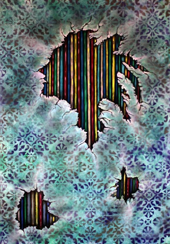 Saul,dziewczyna w dredach,120x80,akryl,2014