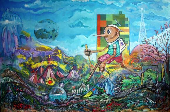 Saul,pinokio w podróży,180x120 cm,technika mieszana na płótnie,2014